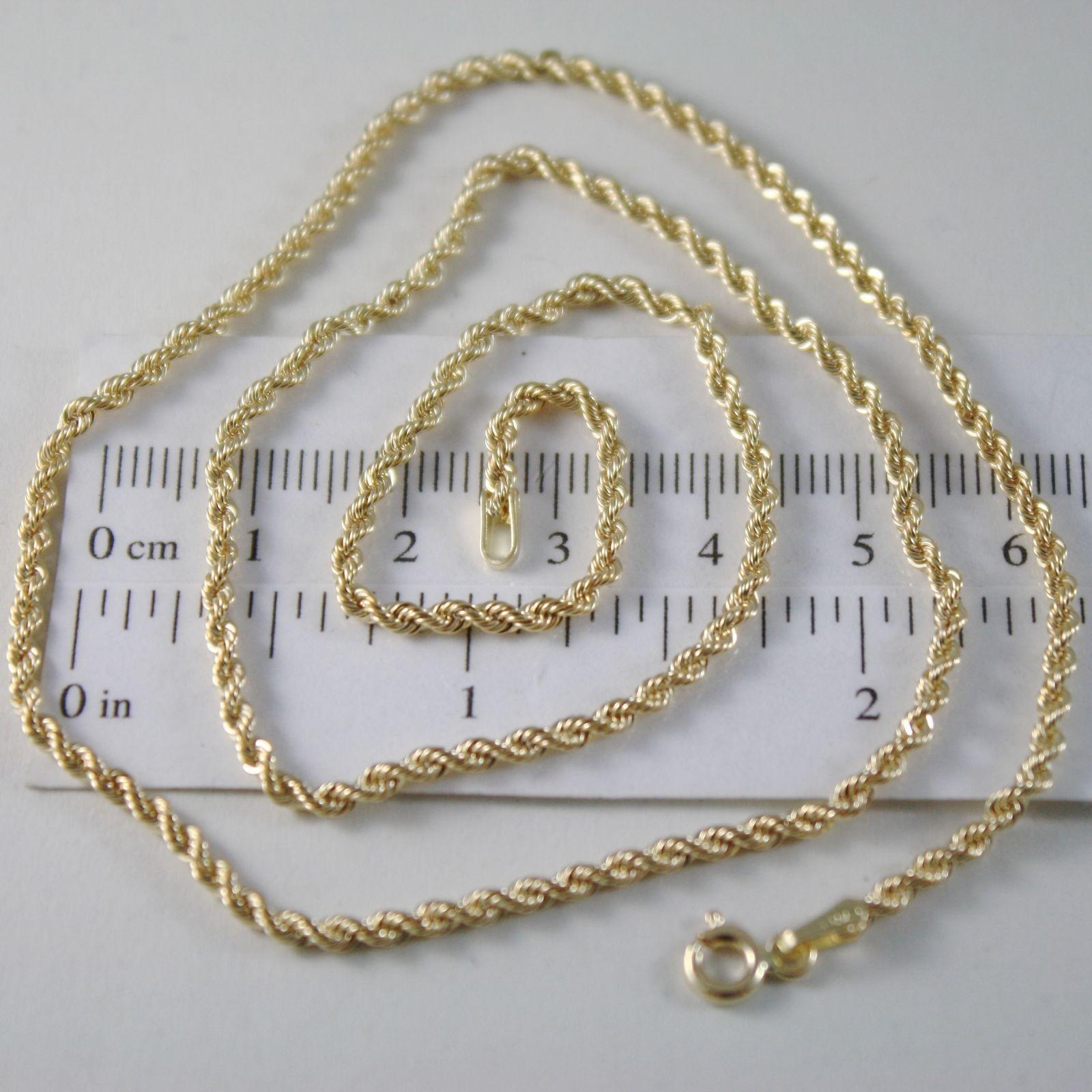 Catena a corda intrecciata in oro 18kt giallo lunga 40 45 50 60 cm spessa 2,5 mm