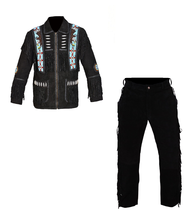 New Men's Native American Buckskin Black Suede Leather Jacket & Pant WS69 - $197.01+