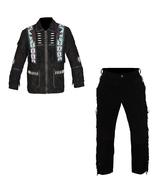 New Men's Native American Buckskin Black Suede Leather Jacket & Pant WS69 - $197.01+