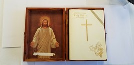 Holy Bible Memorial Edition Gold Embossed in Wood Box - $14.99