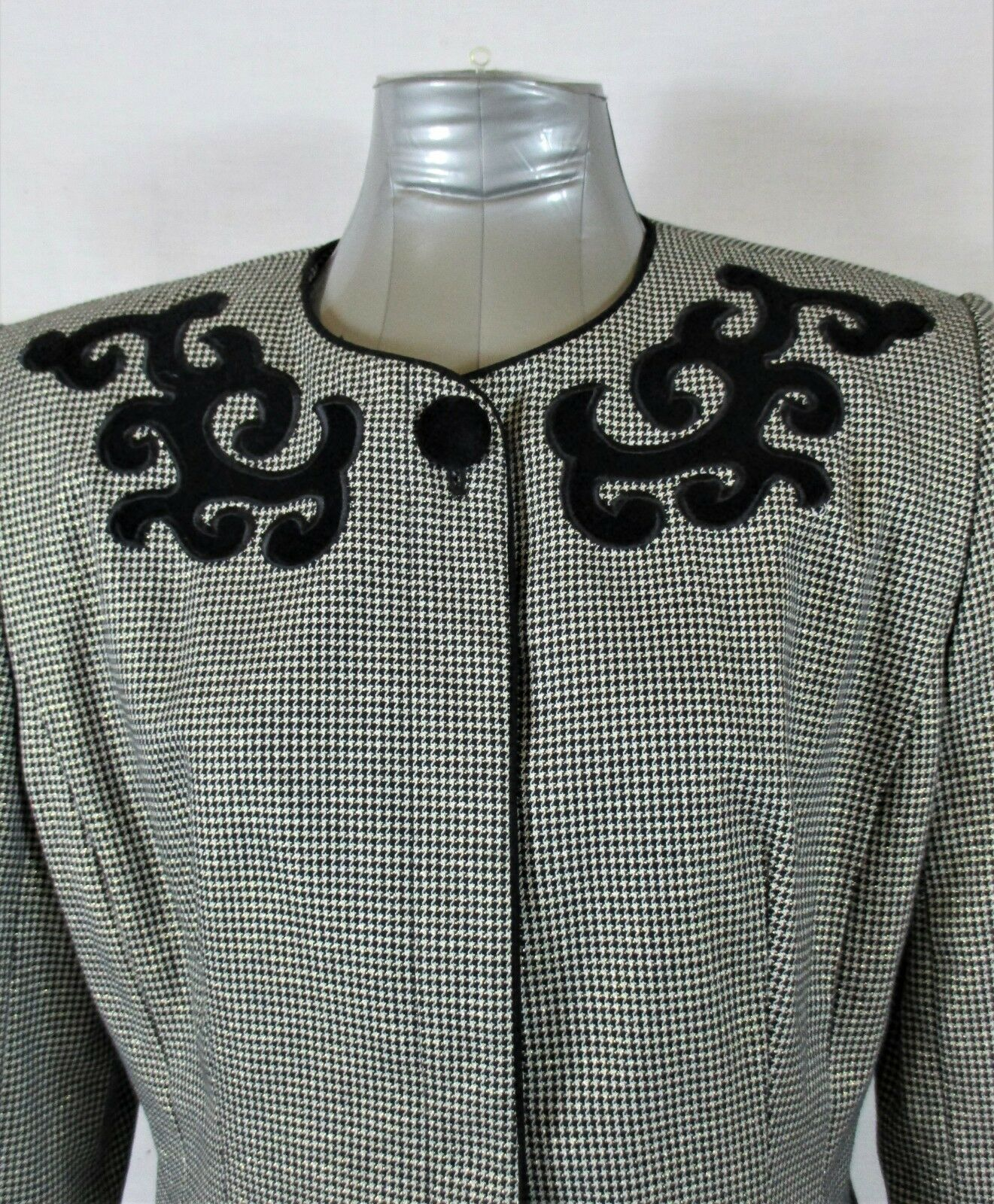 EXECUTIVE COLLECTION womens Sz 14 L/S black white VELVET accents jacket (A5)
