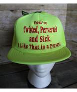 80s 90s Vintage Funny PERVERTED Retro Neon Yellow Snapback Trucker Hat C... - $38.69