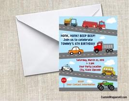 Cars Trucks Transportation Birthday Party Invitations Personalized Custom - ₨79.98 INR+