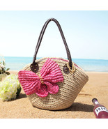 Women s handbag shoulder bag woven bag straw bag bow rattan beach bag thumbtall
