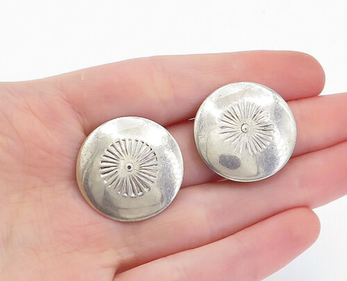 Primary image for SOUTHWESTERN 925 Silver - Vintage Floral Etched Non Pierce Drop Earrings - E9552