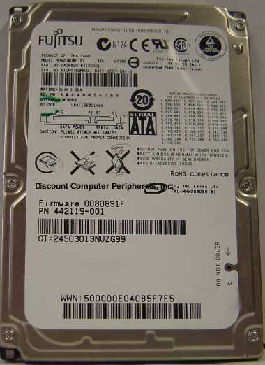 "Fujitsu MHW2080BH 120GB SATA 2.5"" Drive Tested Free USA Ship Our Drives Work"
