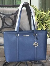 MICHAEL KORS SADY LARGE MULTIFUNCTIONAL TOTE BAG NAVY BLUE LEATHER LAPTO... - $98.99