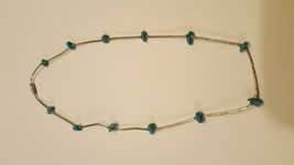 "Antique Vintage Sterling Silver 925 Necklace, 16"", Turquoise - $20.00"