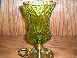 Homco Green Small Diamond Optic Glass Peg Votive Cup Candle Holder - $6.99