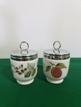 """2 Porcelain Egg Coddlers by Royal Worcester Lavinia and Evesham Gold 3""""X... - $19.80"""