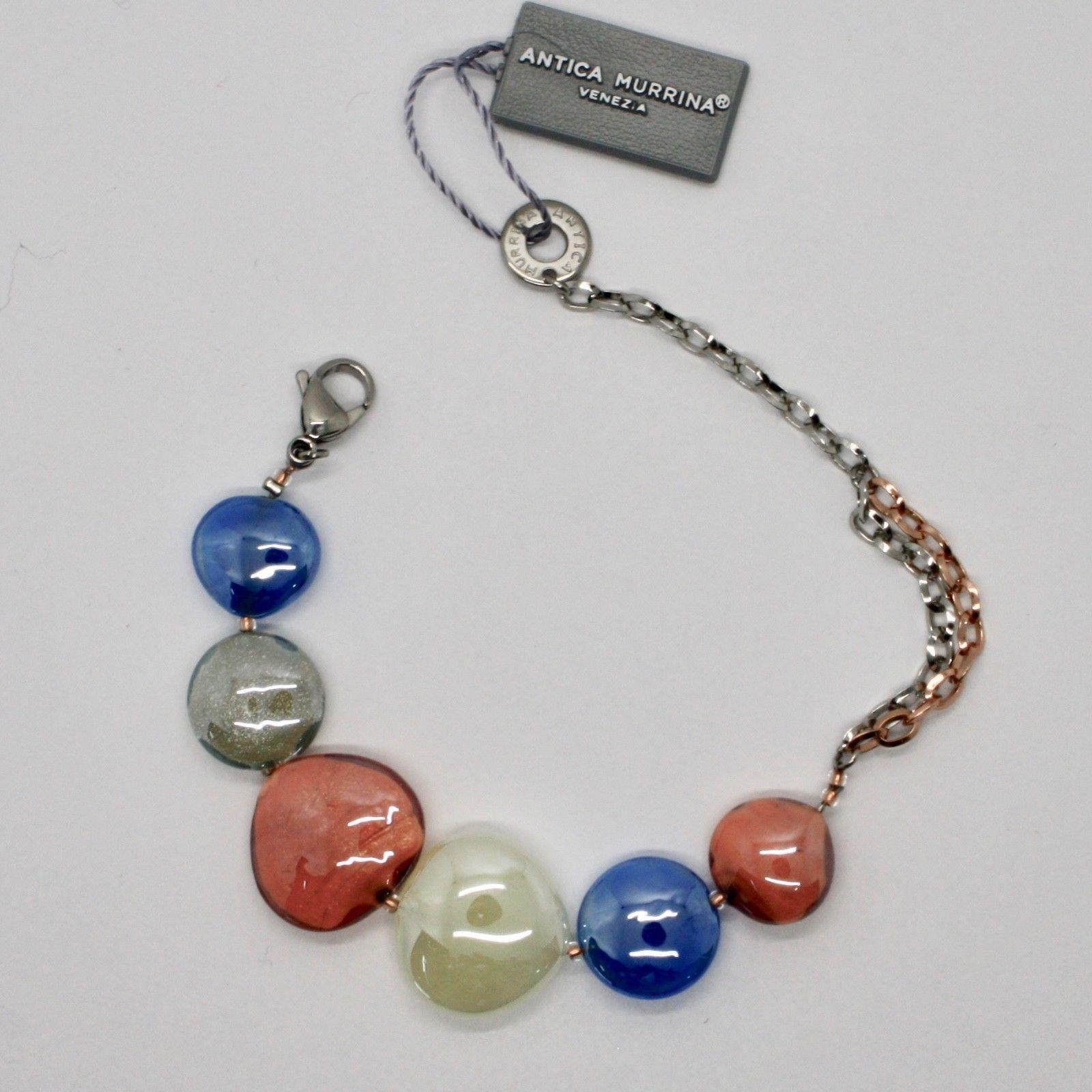 BRACELET ANTICA MURRINA VENEZIA WITH MURANO GLASS ORANGE BLUE BEIGE BR800A46