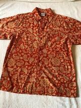 Old Navy Paisley Print Buttondown Shirt Boys Size 8 Orange Tan - $3.00
