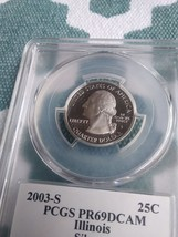 2003-S Illinois quarter (Silver)  certified PR69 PCGS - $13.09