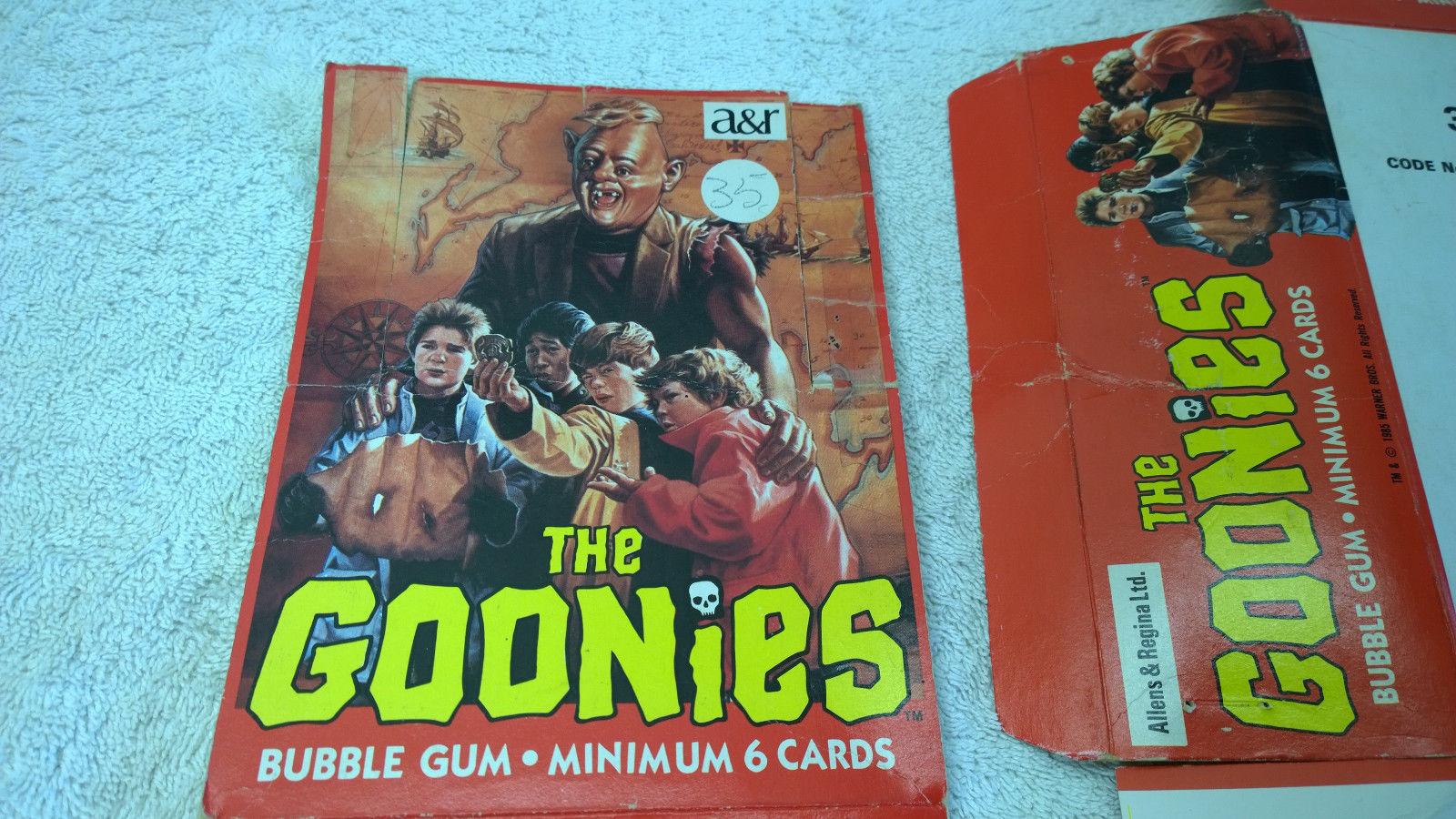 1985 Goonies Trading Card Set Foreign Allens & Regina New Zealand + Counter Box