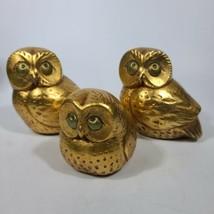 Vintage Mid Century Ceramic Owls Set of 3 Gold Leaf Gilt Heavy  - $39.59