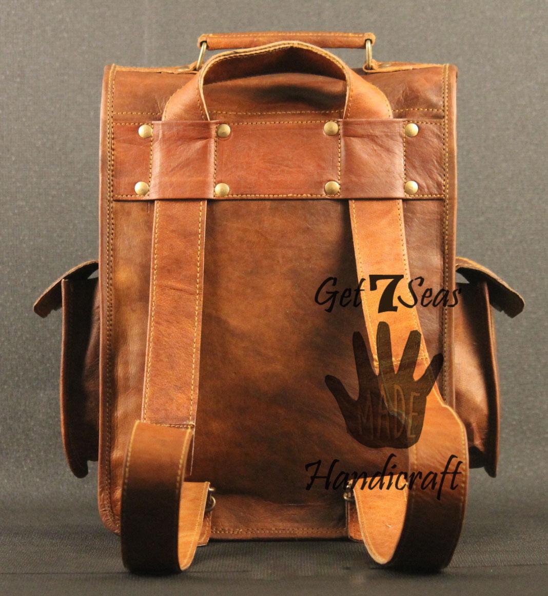 Real genuine men's leather backpack bag laptop satchel briefcase men vintage image 6