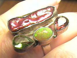 Argento Sterling 925 Viola Perla Opale Peridoto Granato 8 Artisanal Fatto - $60.43