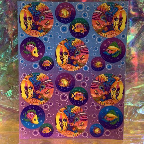 Lisa Frank Complete Sticker Sheet S212 Rainbow Kissing Fish Circle Style