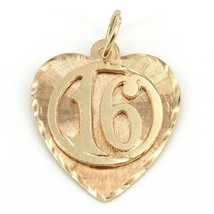 Vintage Solid 14K Yellow Gold Sweet 16 Heart Charm 2.1 Grams - $119.99