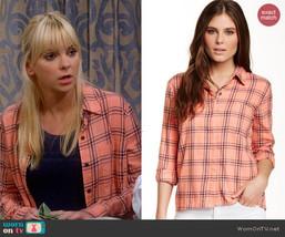 Splendid Aston Flannel Shirt - Orange Plaid 100% Cotton Size Small  - $28.71
