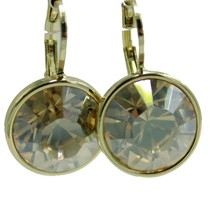 Swarovski Elements Champagne Bella Earrings Gold Plated Dangle Leverback - $21.44