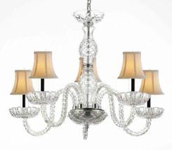 Murano Venetian Style Crystal Chandelier Lighting with White Shades W/Chrome Sle - $118.56