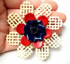 """Large Vintage white red blue enamel cut out flower brooch pin  2 3/8th"""" - $19.79"""