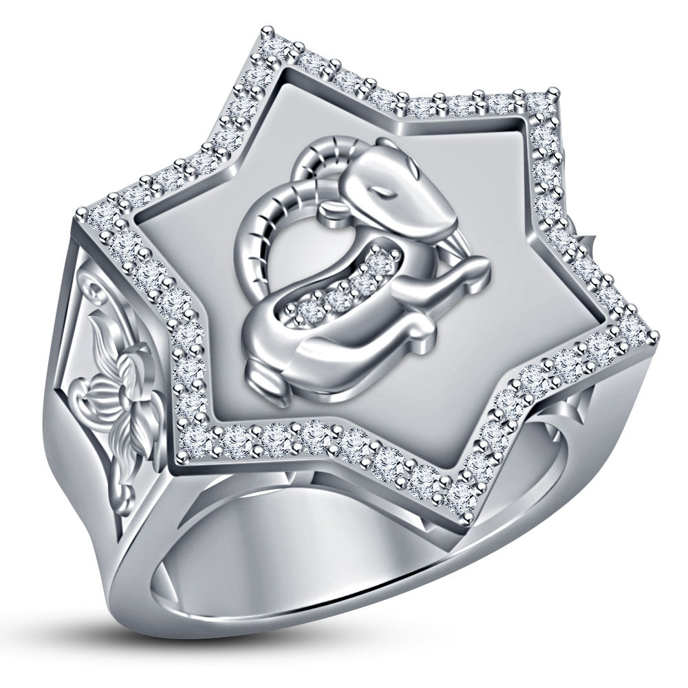 Capricorn Zodiac Sign Men's Band Ring Round Cut CZ White Gold Plated 925 Silver