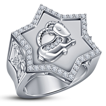 Capricorn Zodiac Sign Men's Band Ring Round Cut CZ White Gold Plated 925... - $142.88