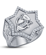 Capricorn Zodiac Sign Men's Band Ring Round Cut CZ White Gold Plated 925... - £89.67 GBP