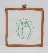 hand embroidered  pepper cotton pot holder - €5,41 EUR