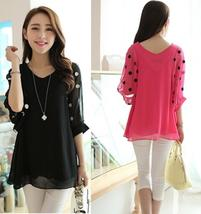 Women New Fashion Summer Sexy Elegant Chiffon Shirt Casual Loose Dots Point Bat