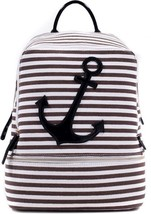 Dasein Anchor Canvas Striped Backpack With Adjustable Shoulder Straps - $45.17