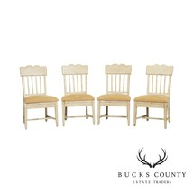 Drexel Heritage Crackle Painted Finish Set 4 French Country Style Dining Chairs - $695.00