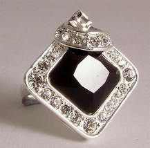 Ladies striking fashion ring black and diamante in a silver coloured metal - $36.15