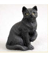 Shorthaired Black  Tabby Cat TINY ONES Figurine Statue Pet Resin - $8.99