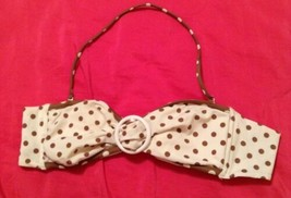 Womens Victorias Secret Bikini Top Halter Strapless Ivory Brown Polkadot Small - $8.61
