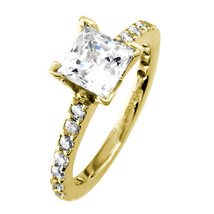 Engagement Ring Setting for a Princess Cut Diamond, 0.40CT Sides in 14K ... - $1,295.00