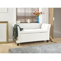 Modern Upholstered Storage Hallway or Bedroom Bench Seating White - $157.40
