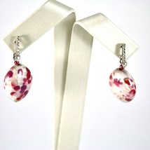 EARRINGS ANTICA MURRINA VENEZIA WITH MURANO GLASS OVAL RED AND WHITE image 2