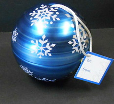 "CHRISTMAS ORNAMENT GIFT METAL TIN OPENS NEW WITH TAG 4"" ROUND BLUE - $29.70"