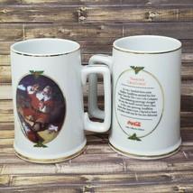 Coca Cola Seasons Greetings Mugs Lot of 2 Haddon Sundblom Vintage 1996 Christmas - $16.79