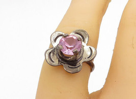 MEXICO 925 Sterling Silver - Vintage Pink Topaz Flower Band Ring Sz 6 - R17526 - $23.42