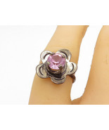 MEXICO 925 Sterling Silver - Vintage Pink Topaz Flower Band Ring Sz 6 - ... - $23.42