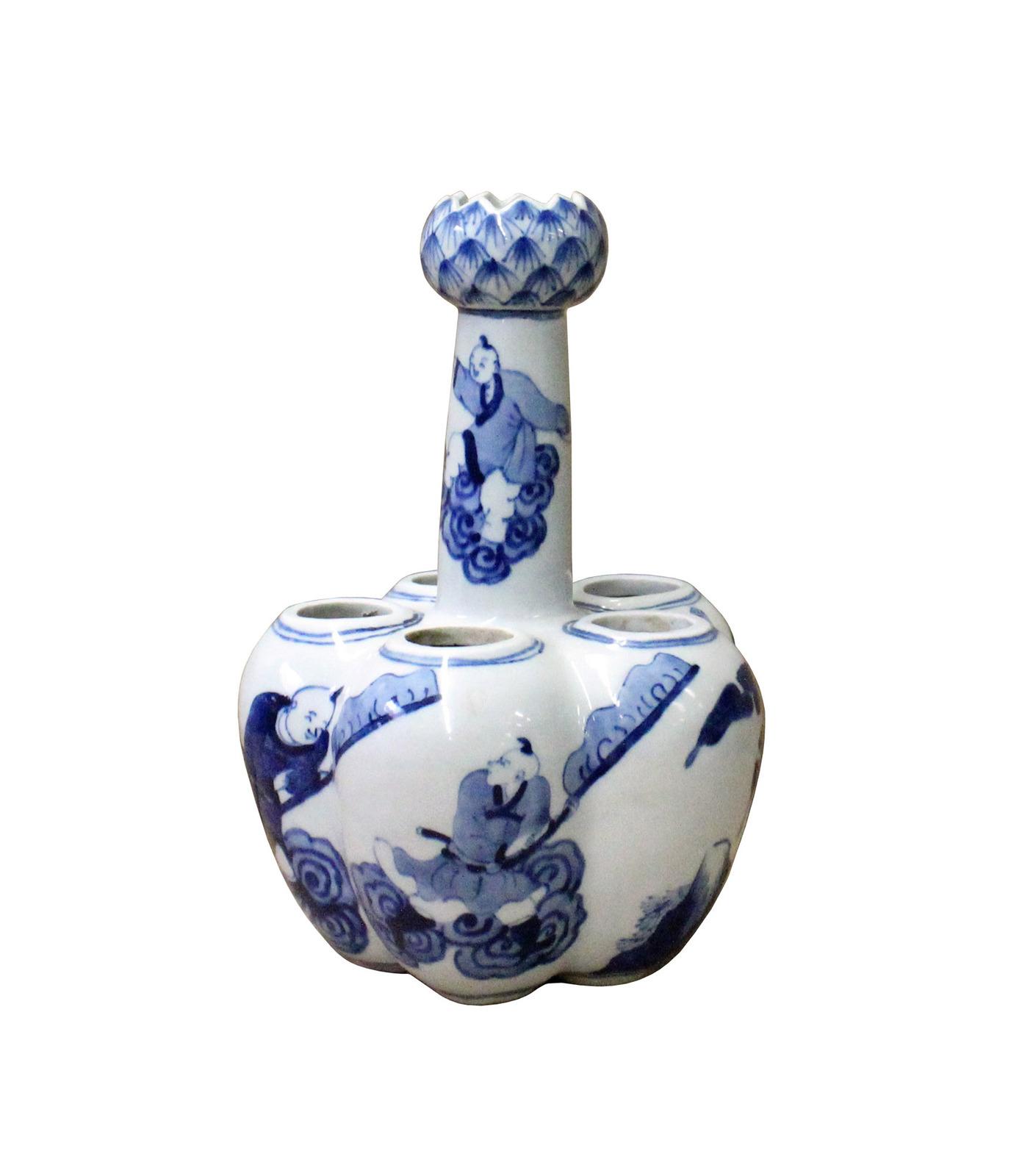 "Chinese Blue White Porcelain Scenery ""Garlic Head Shape"" Vase cs3603"