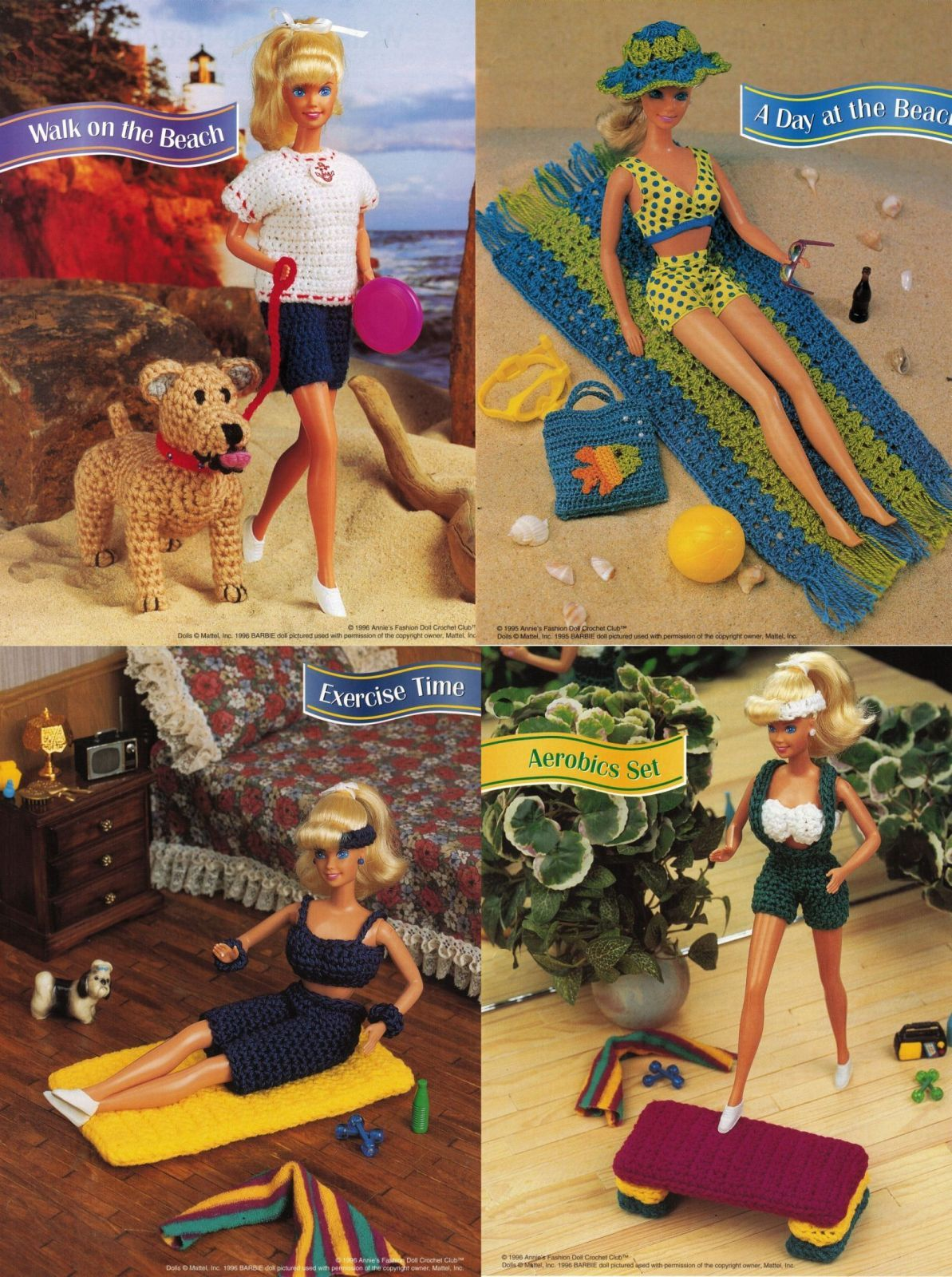 "5X Barbie 11-1/2"" Doll Beach Aerobics Exercise Time Andy The Dog Crochet Pattern"