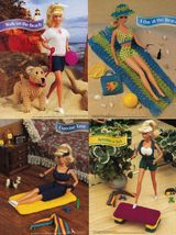 "5X Barbie 11-1/2"" Doll Beach Aerobics Exercise Time Andy The Dog Crochet... - $10.99"