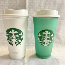 2 starbucks 16 oz reusable Hot Or Cold Cups Grande White And Green - $15.84