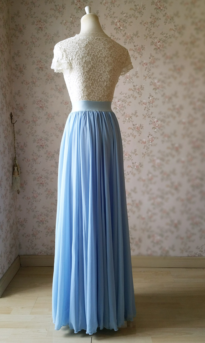 Lightblue maxi skirt chiffon wedding beach 780 5