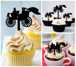 Wedding,Cupcake topper,wedding vintage luxury carriage couples : 10 pcs - $10.00